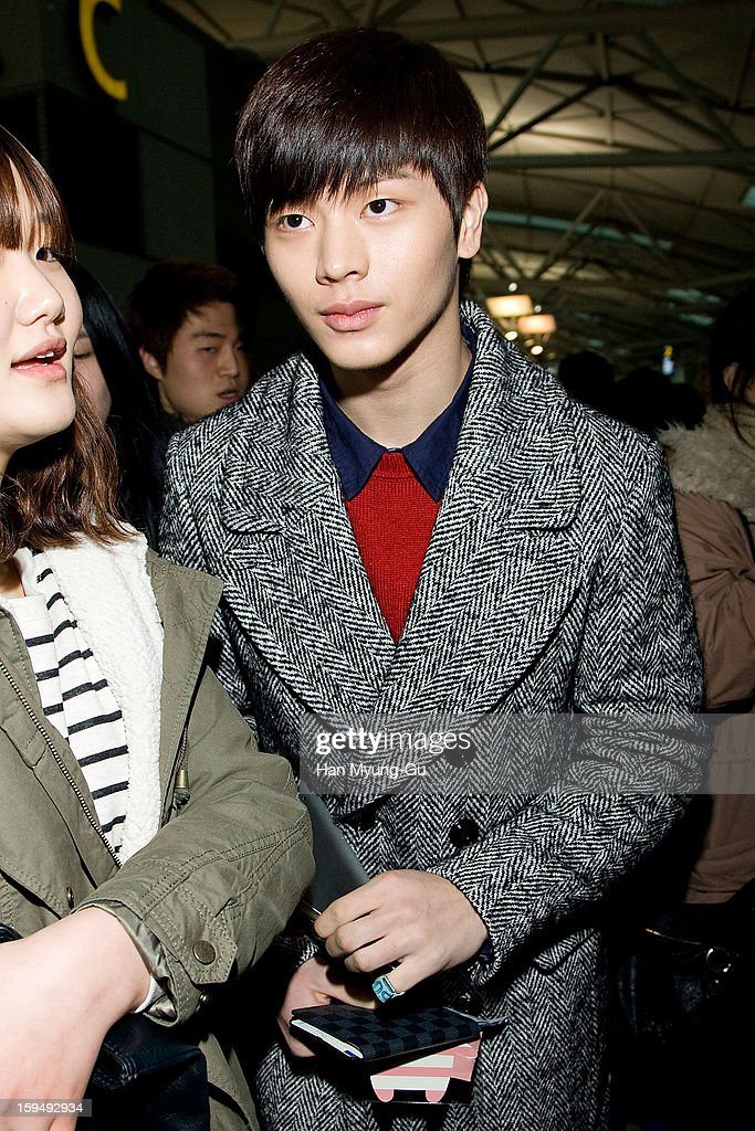 Yook Sung-Jae of South Korean boy band BtoB is seen at Incheon International Airport on January 13, 2013 in Incheon, South Korea.