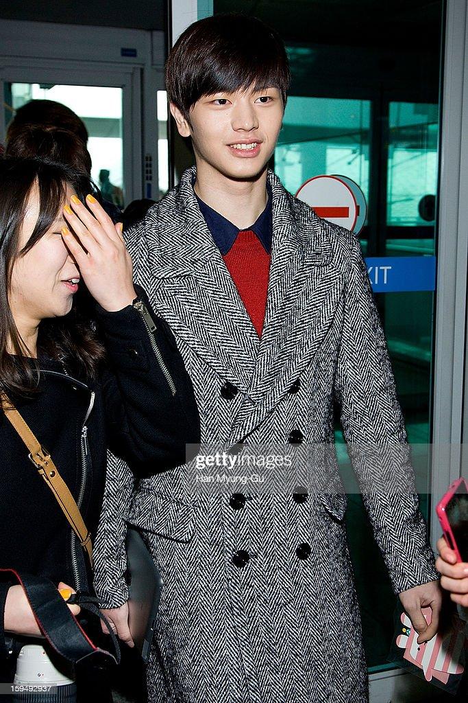 Yook Sung-Jae of South Korean boy band BtoB is seen at Incheon International Airport on January 13, 2013 in Incheon, South Korea.