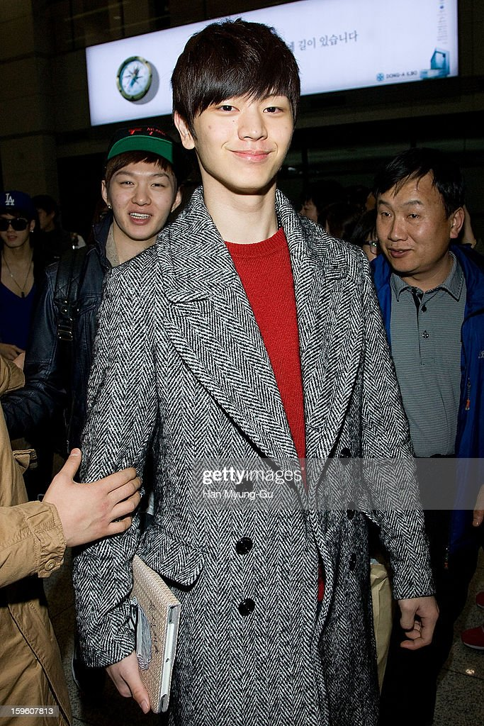 Yook Sung-Jae of South Korean boy band BtoB is seen at Incheon Inaternational Airport on January 16, 2013 in Incheon, South Korea.