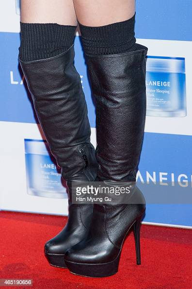 Yoon BoMi shoe detail of South Korean girl group Apink attends the Laneige Launch Party at Y1975 on March 3 2015 in Seoul South Korea