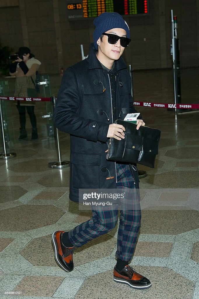 Yoon DuJun of South Korean boy band Beast is seen on departure at Gimpo International Airport on December 9 2013 in Seoul South Korea