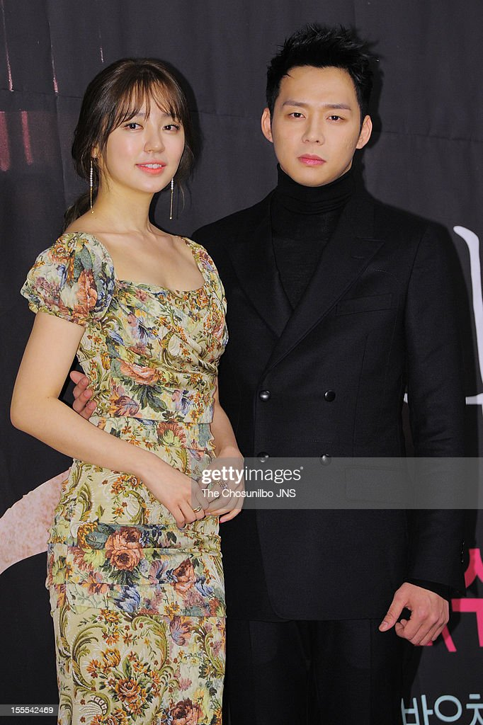 Yoon Eun-Hye and Park Yoo-Chun attend the MBC Drama 'Missing You' Press Conference at lotte hotel on November 1, 2012 in Seoul, South Korea.