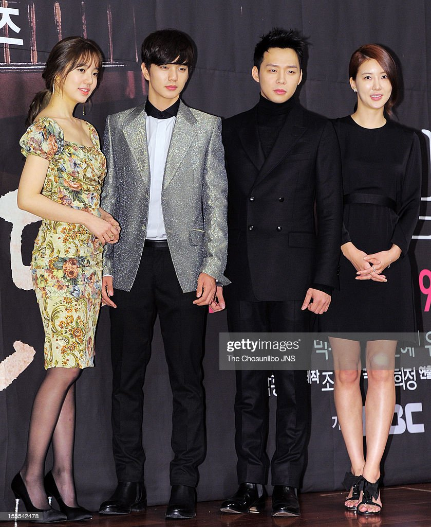 <a gi-track='captionPersonalityLinkClicked' href=/galleries/search?phrase=Yoon+Eun-Hye&family=editorial&specificpeople=4342448 ng-click='$event.stopPropagation()'>Yoon Eun-Hye</a>, Yoo Seung-Ho, <a gi-track='captionPersonalityLinkClicked' href=/galleries/search?phrase=Park+Yoo-Chun&family=editorial&specificpeople=7444749 ng-click='$event.stopPropagation()'>Park Yoo-Chun</a>, and Jang Mi In Ae attend the MBC Drama 'Missing You' Press Conference at lotte hotel on November 1, 2012 in Seoul, South Korea.