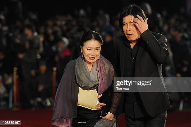 Yoon jungHee and Director Lee ChangDong attend the 47th Daejong Film Awards on October 29 2010 in South Korea