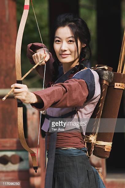 Yoon SoYi is seen on location of the SBS television drama 'Mu Sa BaeDongSoo' at Korean Folk Village on June 13 2011 in Yongin South Korea