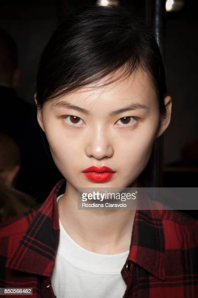 A model is seen ahead backstage of the Max Mara show during Milan Fashion Week Spring/Summer 2018 on September 21 2017 in Milan Italy