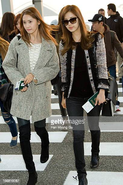 Yoona and Seohyun of South Korean girl group Girls' Generation is seen at Incheon International Airport on November 22 2012 in Incheon South Korea