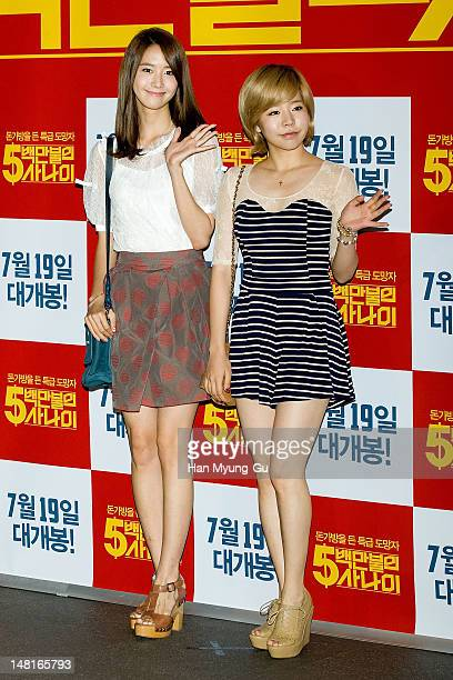 Yoona and Sunny of South Korean girl group Girls' Generation attend the 'A Millionaire On The Run' VIP screening on July 11 2012 in Seoul South Korea...