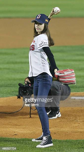 Yoona of Girls' Generation throws ceremonial first pitch before the game Between Doosan Bears and NC Dinos at Jamsil Stadium on October 21 2015 in...