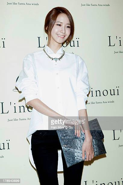 Yoona of South Korean girl group Girls' Generation attends during the opening of luxury bag brand 'Linoui' at Lotte Department Store on August 31...