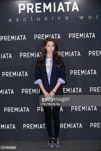 Yoona of South Korean girl group Girls' Generation attends the photocall for 'PREMIATA' Korea Launch at Hyundai Department Store on March 28 2016 in...