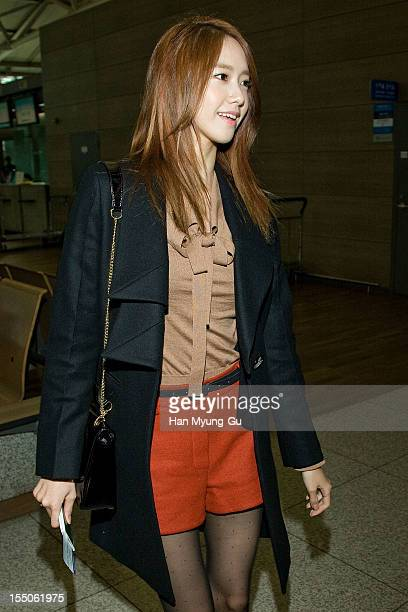 Yoona of South Korean girl group Girls' Generation is seen at Incheon International Airport on October 31 2012 in Incheon South Korea