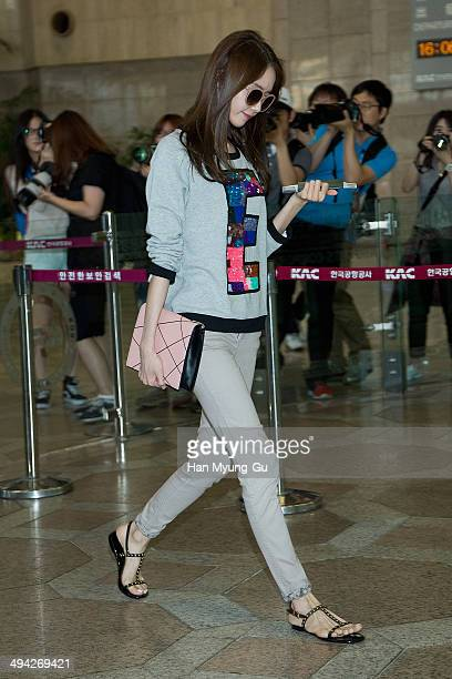Yoona of South Korean girl group Girls' Generation is seen on departure at Gimpo International Airport on May 29 2014 in Seoul South Korea