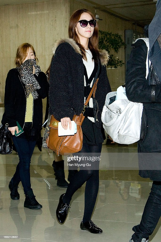 Yoona of South Korean girl group Girls' Generation is seen upon arrival from Japan at Gimpo International Airport on March 6, 2013 in Seoul, South Korea.