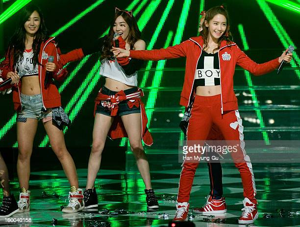 Yoona of South Korean girl group Girls' Generation performs onstage during the Mnet 'M CountDown' at CJ EM Building on January 24 2013 in Seoul South...