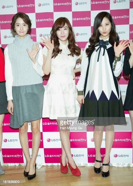 Yoona Tiffany and Seohyun of South Korean girl group Girls' Generation attend Girls' Generation autograph session for LG at LG Gangnam Store on...