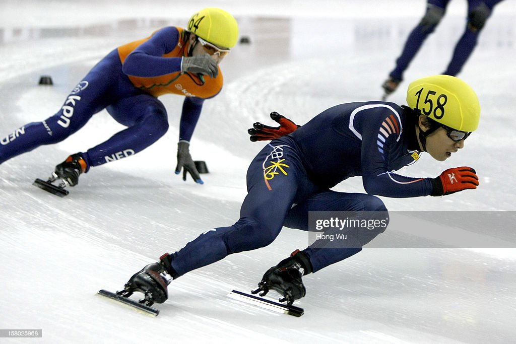 Yoon-Gy Kwak of Korea competes in the Men's 5000m Relay Final during the day two of the ISU World Cup Short Track at the Oriental Sports Center on December 9, 2012 in Shanghai, China.