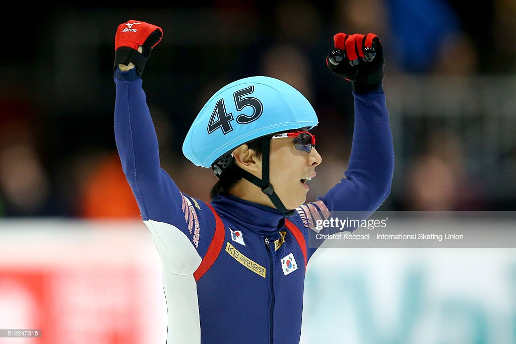 Yoon-Gy Kwak of Korea shows reaction after the men 5000m relay final A during Day 3 of ISU Short Track World Cup at Sportboulevard on February 14, 2016 in Dordrecht, Netherlands.