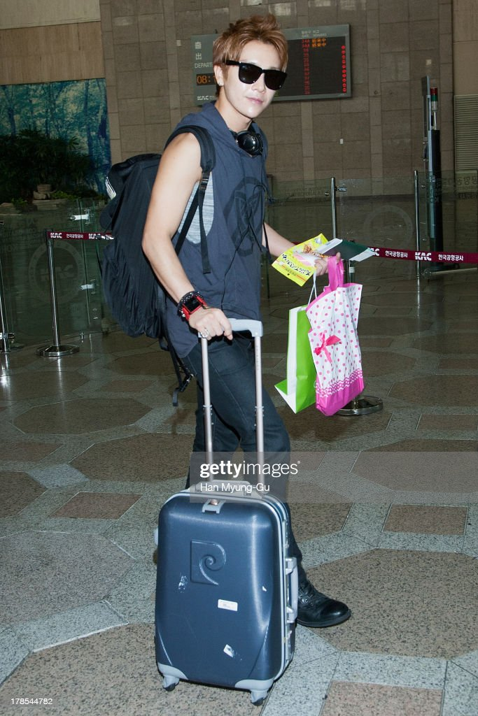Yoonhak of South Korean boy band Choshinsung is seen on departure at Gimpo International Airport on August 30, 2013 in Seoul, South Korea.