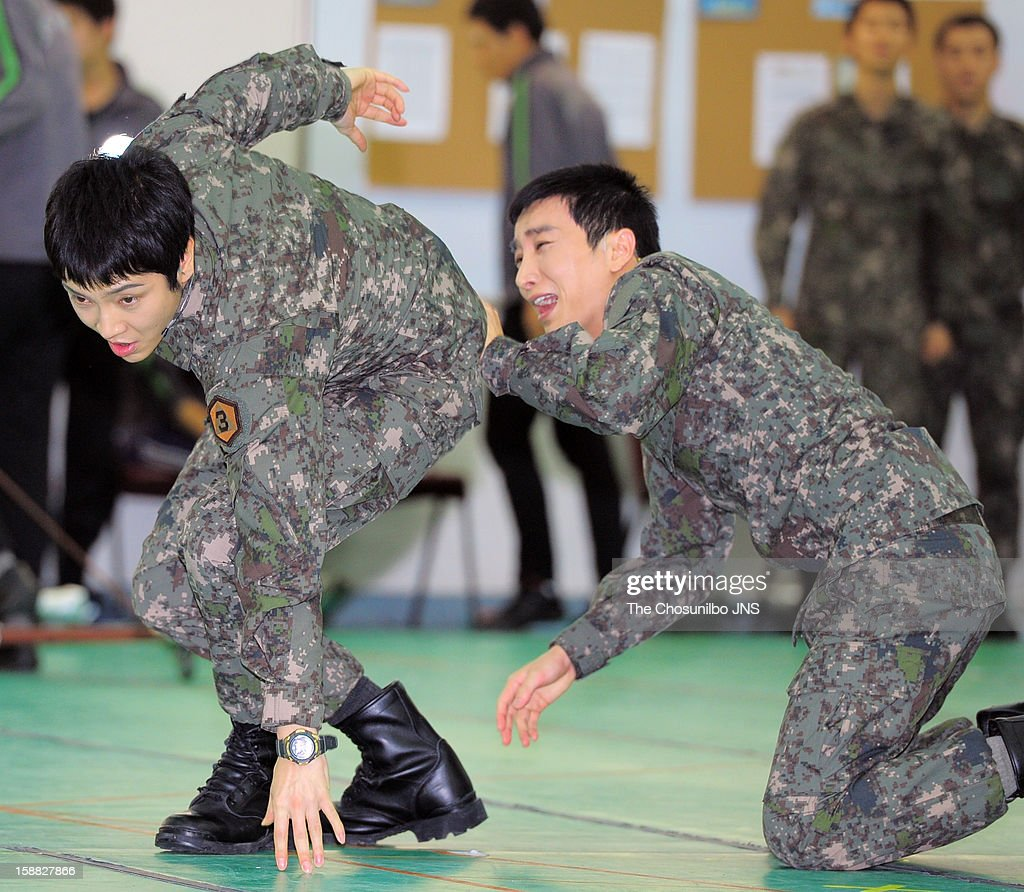 Yoon-Hak of Supernova and Lee-Teuk of Super Junior perform during the musical 'The Promise' rehearsal at Wooriarthall on December 27, 2012 in Seoul, South Korea.