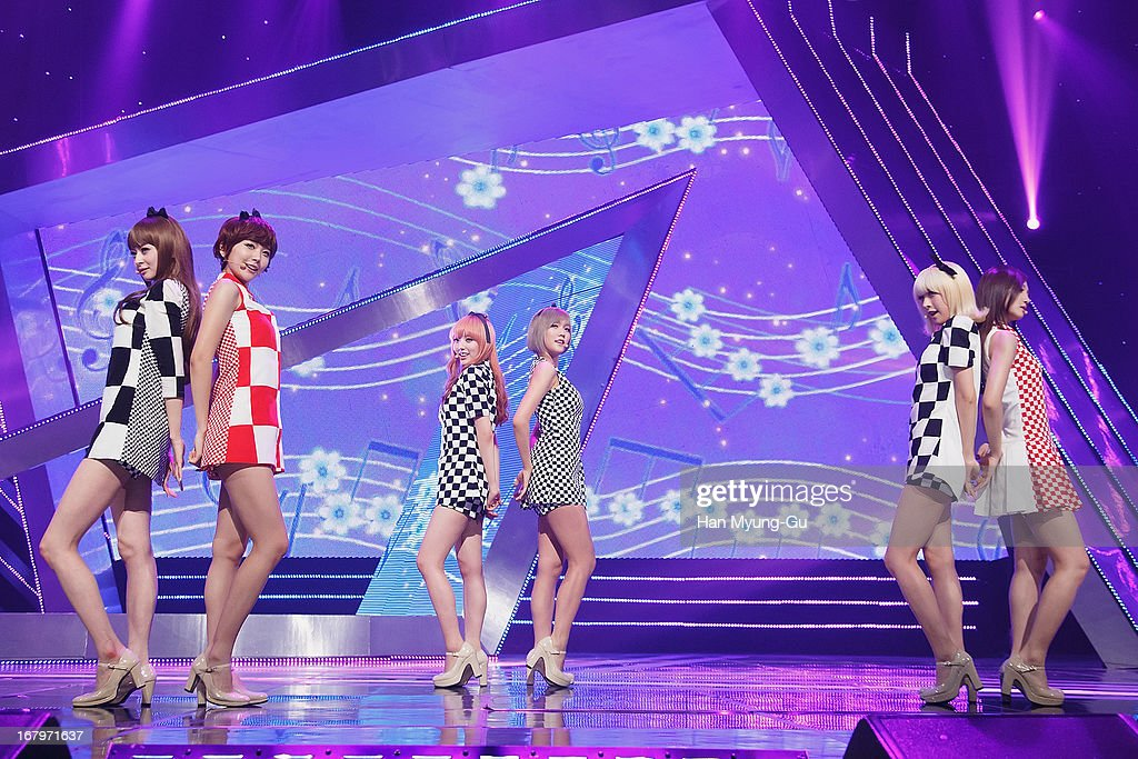 Yoonjo, Nara, Alice, Yooara, Yooyoung and Lime of South Korean girl group Hello Venus perform onstage during the Mnet 'M CountDown' at CJ E&M Center on May 02, 2013 in Seoul, South Korea.