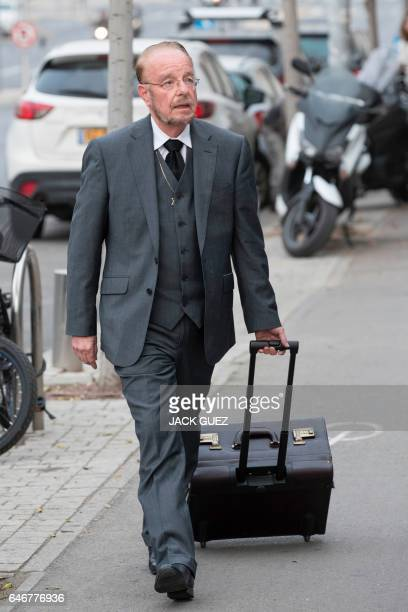 Yoram Sheftel the defence attorney of Elor Azaria arrives for a press conference on March 1 in the Israeli city of Tel Aviv Elor Azaria an Israeli...