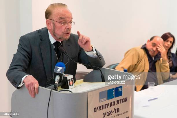 Yoram Sheftel the defence attorney of Elor Azaria gives a press conference on March 1 in the Israeli city of Tel Aviv Elor Azaria an Israeli soldier...