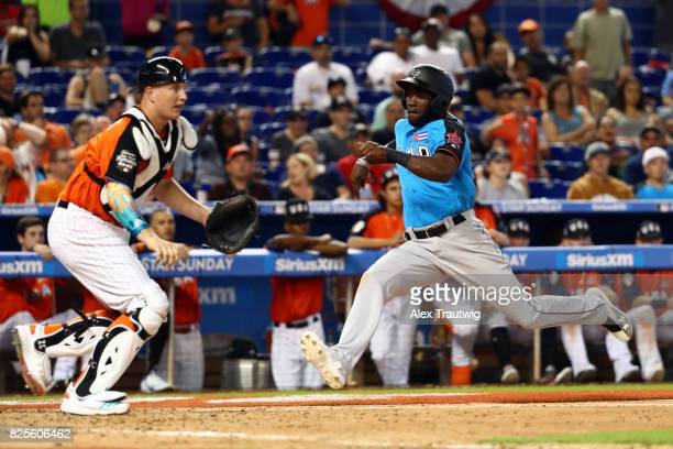 Yordan Alvarez of the World Team scores a run during the SirusXM AllStar Futures Game at Marlins Park on Sunday July 9 2017 in Miami Florida