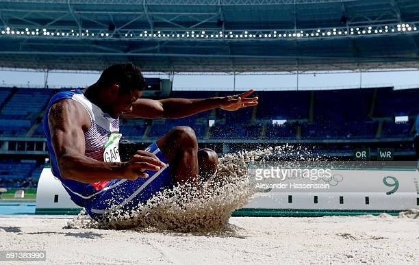Yordani Garcia of Cuba competes in the Men's Decathlon Long Jump on Day 12 of the Rio 2016 Olympic Games at the Olympic Stadium on August 17 2016 in...