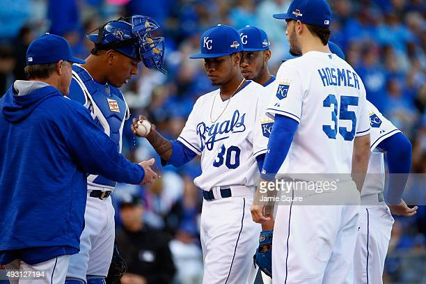 Yordano Ventura of the Kansas City Royals is pulled in the sixth inning against the Toronto Blue Jays in game two of the American League Championship...