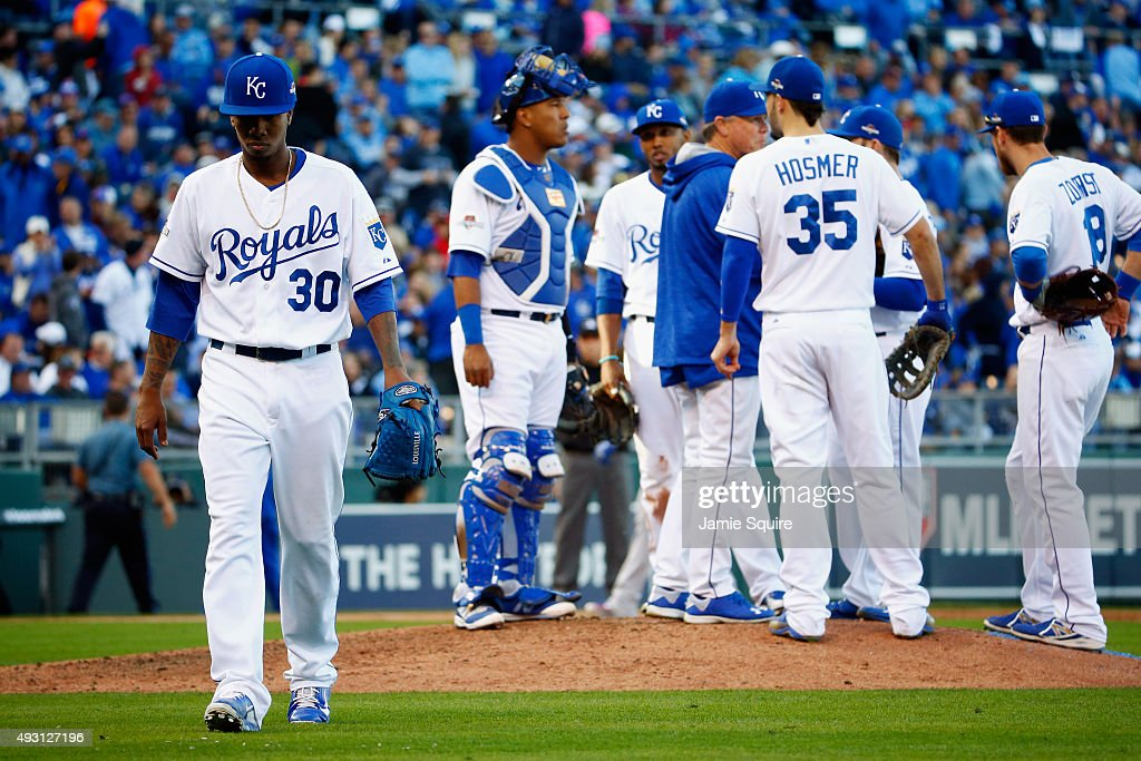 <a gi-track='captionPersonalityLinkClicked' href=/galleries/search?phrase=Yordano+Ventura&family=editorial&specificpeople=9527243 ng-click='$event.stopPropagation()'>Yordano Ventura</a> #30 of the Kansas City Royals is pulled in the sixth inning against the Toronto Blue Jays in game two of the American League Championship Series at Kauffman Stadium on October 17, 2015 in Kansas City, Missouri.