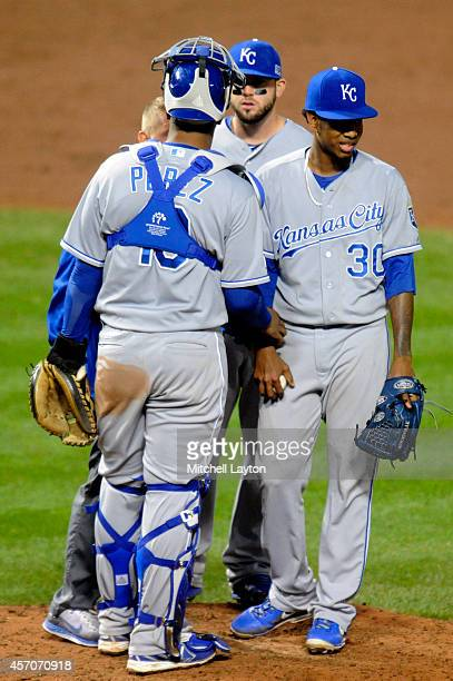 Yordano Ventura of the Kansas City Royals leaves the mound in the sixth inning against the Baltimore Orioles during Game Two of the American League...