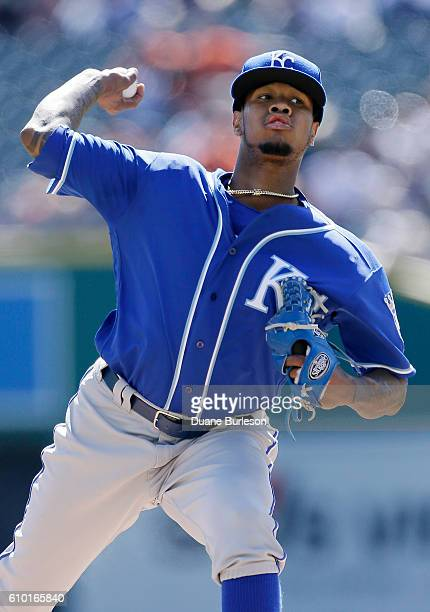 Yordano Ventura of the Kansas City Royals pitches against the Detroit Tigers during the first inning at Comerica Park on September 24 2016 in Detroit...