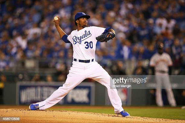 Yordano Ventura of the Kansas City Royals pitches during Game 6 of the 2014 World Series against the San Francisco Giants on Tuesday October 28 2014...