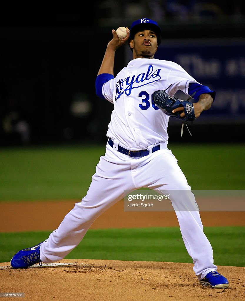 <a gi-track='captionPersonalityLinkClicked' href=/galleries/search?phrase=Yordano+Ventura&family=editorial&specificpeople=9527243 ng-click='$event.stopPropagation()'>Yordano Ventura</a> #30 of the Kansas City Royals pitches in the first inning against the San Francisco Giants during Game Two of the 2014 World Series at Kauffman Stadium on October 22, 2014 in Kansas City, Missouri.