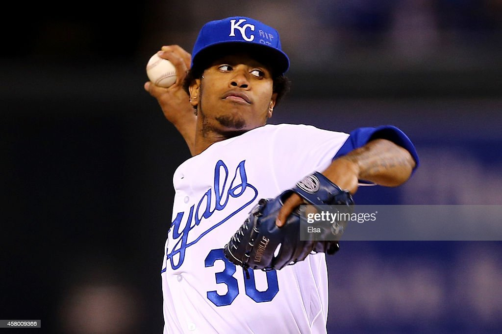 <a gi-track='captionPersonalityLinkClicked' href=/galleries/search?phrase=Yordano+Ventura&family=editorial&specificpeople=9527243 ng-click='$event.stopPropagation()'>Yordano Ventura</a> #30 of the Kansas City Royals pitches in the first inning against the San Francisco Giants during Game Six of the 2014 World Series at Kauffman Stadium on October 28, 2014 in Kansas City, Missouri.
