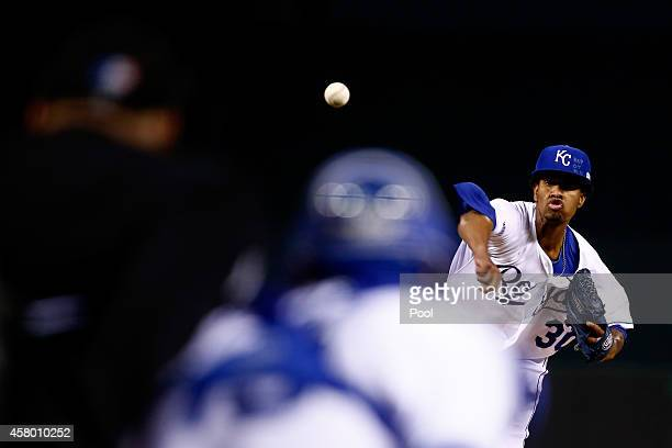 Yordano Ventura of the Kansas City Royals pitches in the first inning against the San Francisco Giants during Game Six of the 2014 World Series at...