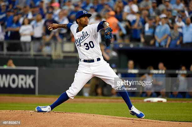 Yordano Ventura of the Kansas City Royals pitches in the first inning during Game 1 of the ALDS against the Houston Astros at Kauffman Stadium on...
