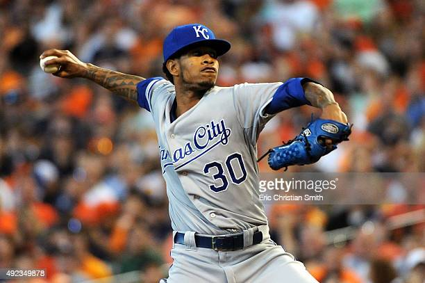 Yordano Ventura of the Kansas City Royals pitches in the first inning against the Houston Astros during game four of the American League Divison...