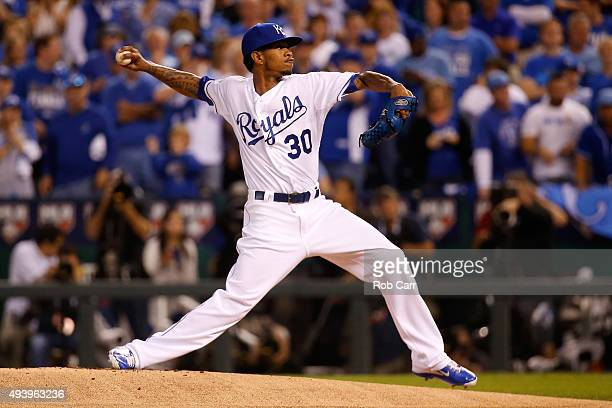 Yordano Ventura of the Kansas City Royals pitches in the first inning against the Toronto Blue Jays in game six of the 2015 MLB American League...