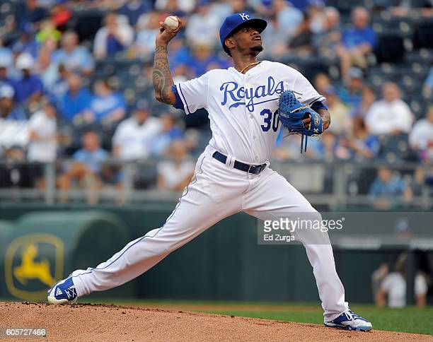 Yordano Ventura of the Kansas City Royals pitches in the first inning against the Oakland Athletics at Kauffman Stadium on September 14 2016 in...