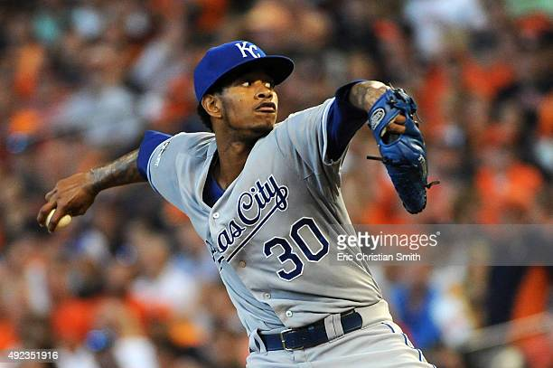 Yordano Ventura of the Kansas City Royals pitches in the third inning against the Houston Astros during game four of the American League Divison...