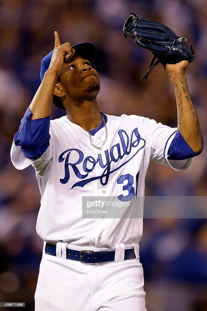 <a gi-track='captionPersonalityLinkClicked' href=/galleries/search?phrase=Yordano+Ventura&family=editorial&specificpeople=9527243 ng-click='$event.stopPropagation()'>Yordano Ventura</a> #30 of the Kansas City Royals reacts after getting out of the third inning against the San Francisco Giants during Game Six of the 2014 World Series at Kauffman Stadium on October 28, 2014 in Kansas City, Missouri.