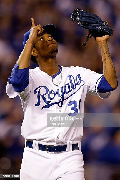 Yordano Ventura of the Kansas City Royals reacts after getting out of the third inning against the San Francisco Giants during Game Six of the 2014...