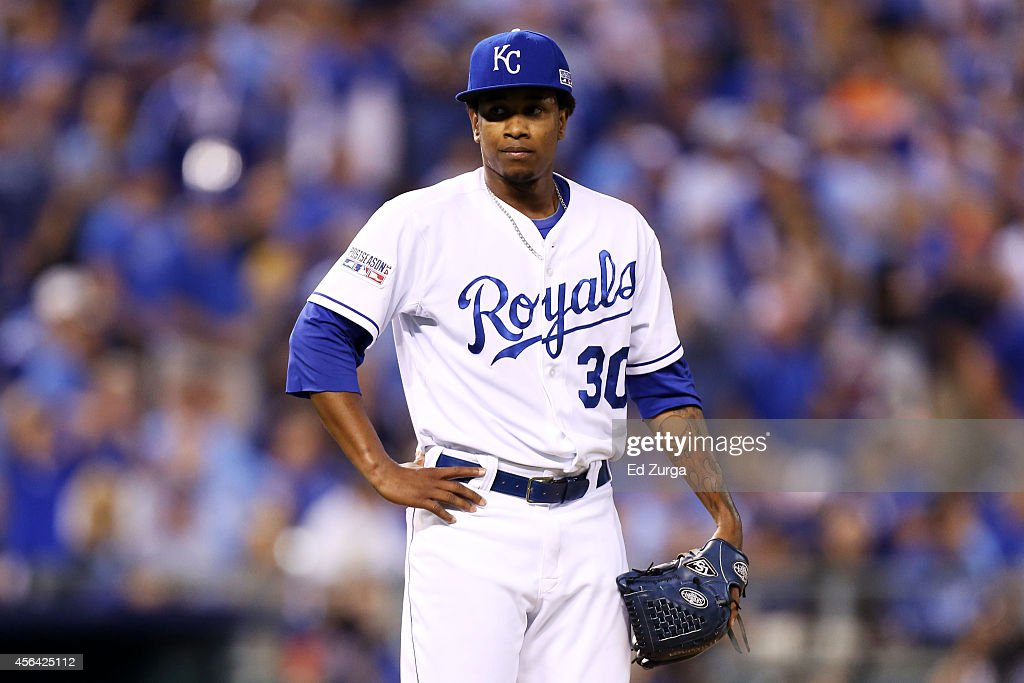 <a gi-track='captionPersonalityLinkClicked' href=/galleries/search?phrase=Yordano+Ventura&family=editorial&specificpeople=9527243 ng-click='$event.stopPropagation()'>Yordano Ventura</a> #30 of the Kansas City Royals reacts after giving up a three-run home run to Brandon Moss #37 of the Oakland Athletics in the sixth inning during the American League Wild Card game at Kauffman Stadium on September 30, 2014 in Kansas City, Missouri.