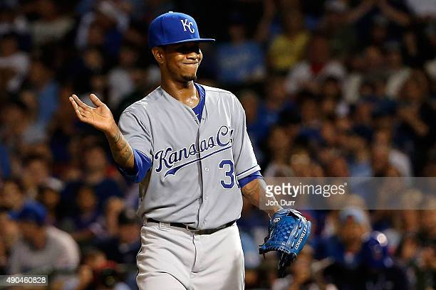 Yordano Ventura of the Kansas City Royals reacts after walking Chris Coghlan of the Chicago Cubs during the seventh inning at Wrigley Field on...
