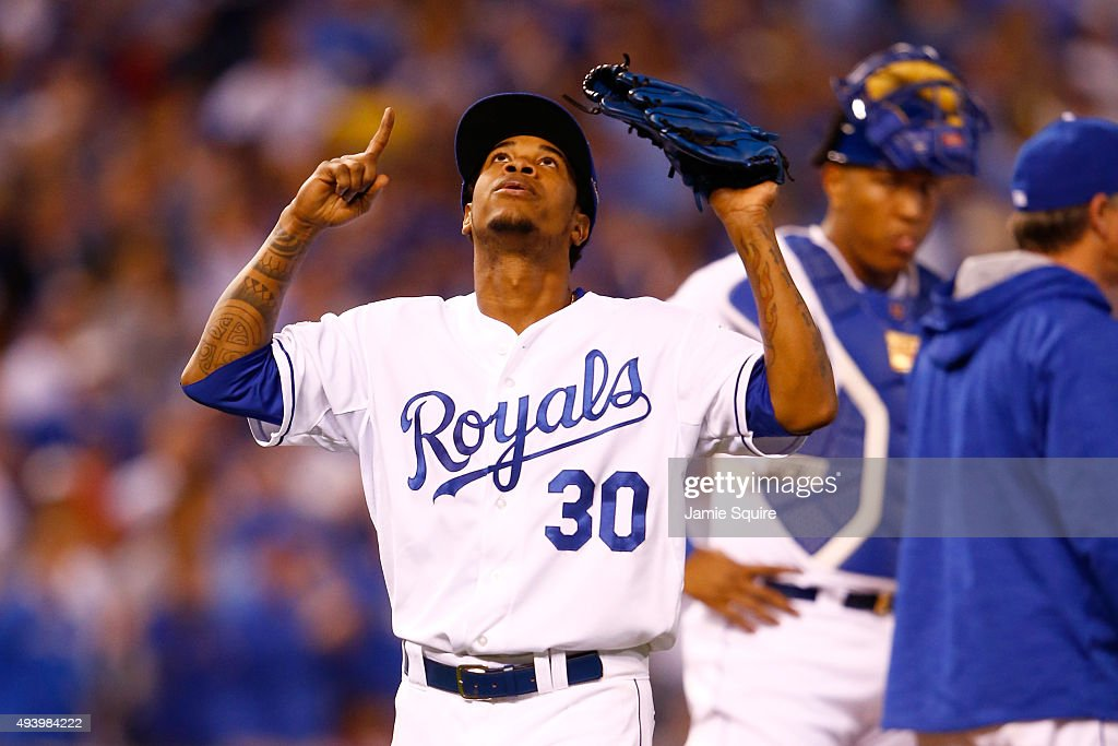 <a gi-track='captionPersonalityLinkClicked' href=/galleries/search?phrase=Yordano+Ventura&family=editorial&specificpeople=9527243 ng-click='$event.stopPropagation()'>Yordano Ventura</a> #30 of the Kansas City Royals reacts as he walks to the dugout after being pulled in the sixth inning while taking on the Toronto Blue Jays in game six of the 2015 MLB American League Championship Series at Kauffman Stadium on October 23, 2015 in Kansas City, Missouri.