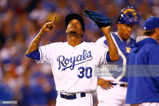 Yordano Ventura of the Kansas City Royals reacts as he walks to the dugout after being pulled in the sixth inning while taking on the Toronto Blue...