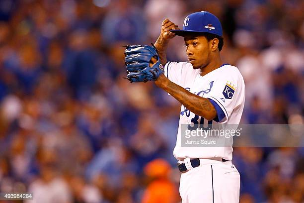 Yordano Ventura of the Kansas City Royals reacts in the sixth inning while taking on the Toronto Blue Jays in game six of the 2015 MLB American...