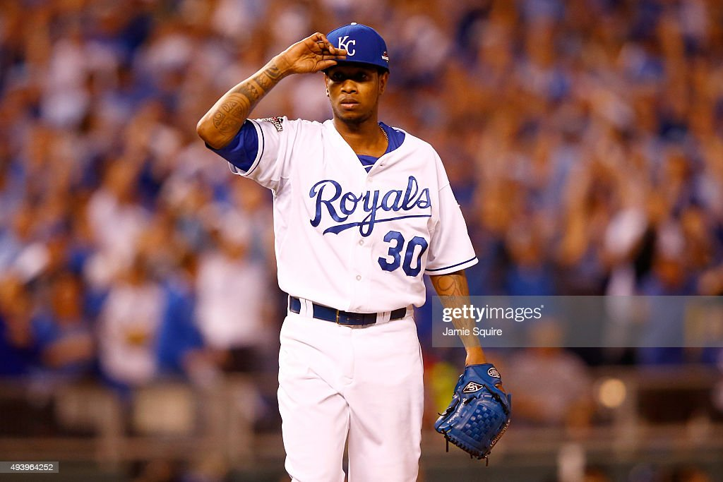 <a gi-track='captionPersonalityLinkClicked' href=/galleries/search?phrase=Yordano+Ventura&family=editorial&specificpeople=9527243 ng-click='$event.stopPropagation()'>Yordano Ventura</a> #30 of the Kansas City Royals reatcs in the second inning against the Toronto Blue Jays in game six of the 2015 MLB American League Championship Series at Kauffman Stadium on October 23, 2015 in Kansas City, Missouri.